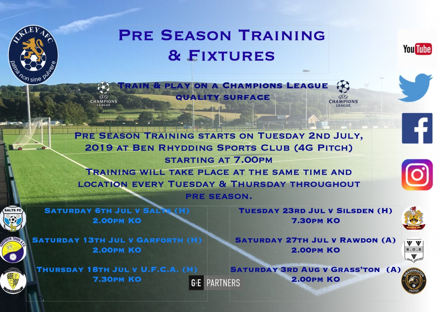 Pre Season Training & Fixtures ANNOUNCED!